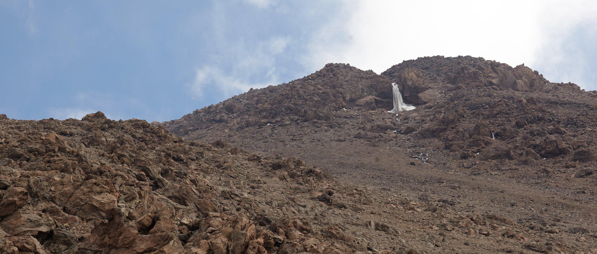 Frozen Waterfall at 5030m altitude, Mt. Damavand, Iran