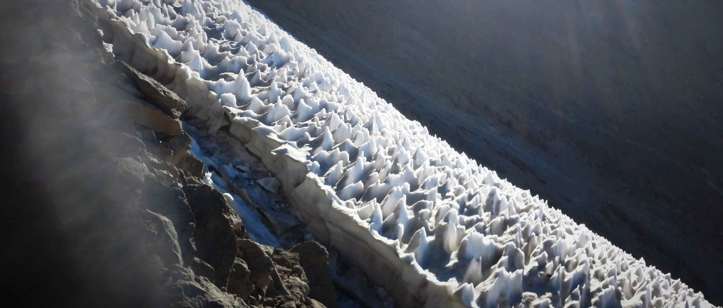 Snow ice-field at 5000m, Mt. Damavand, Iran