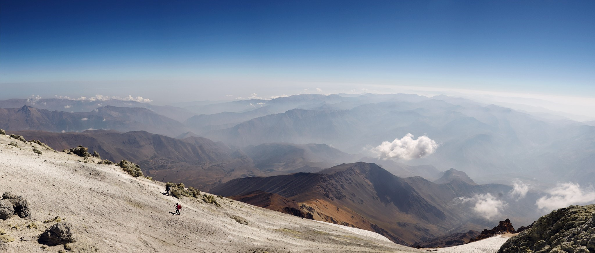 The view from the top (5671m) shows that the earth is round (see the horizon), Mt. Damavand, Iran