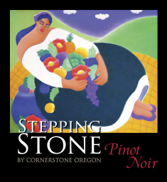 "2010 Stepping Stone by Cornerstone Oregon Willamette Valley Pinot Noir with ""Color of Life"" label by artist Janet Ekholm."