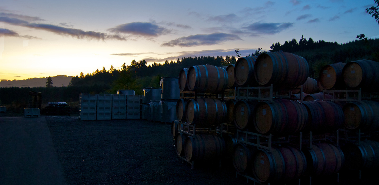 The Cornerstone Oregon winery at dawn during harvest 2011