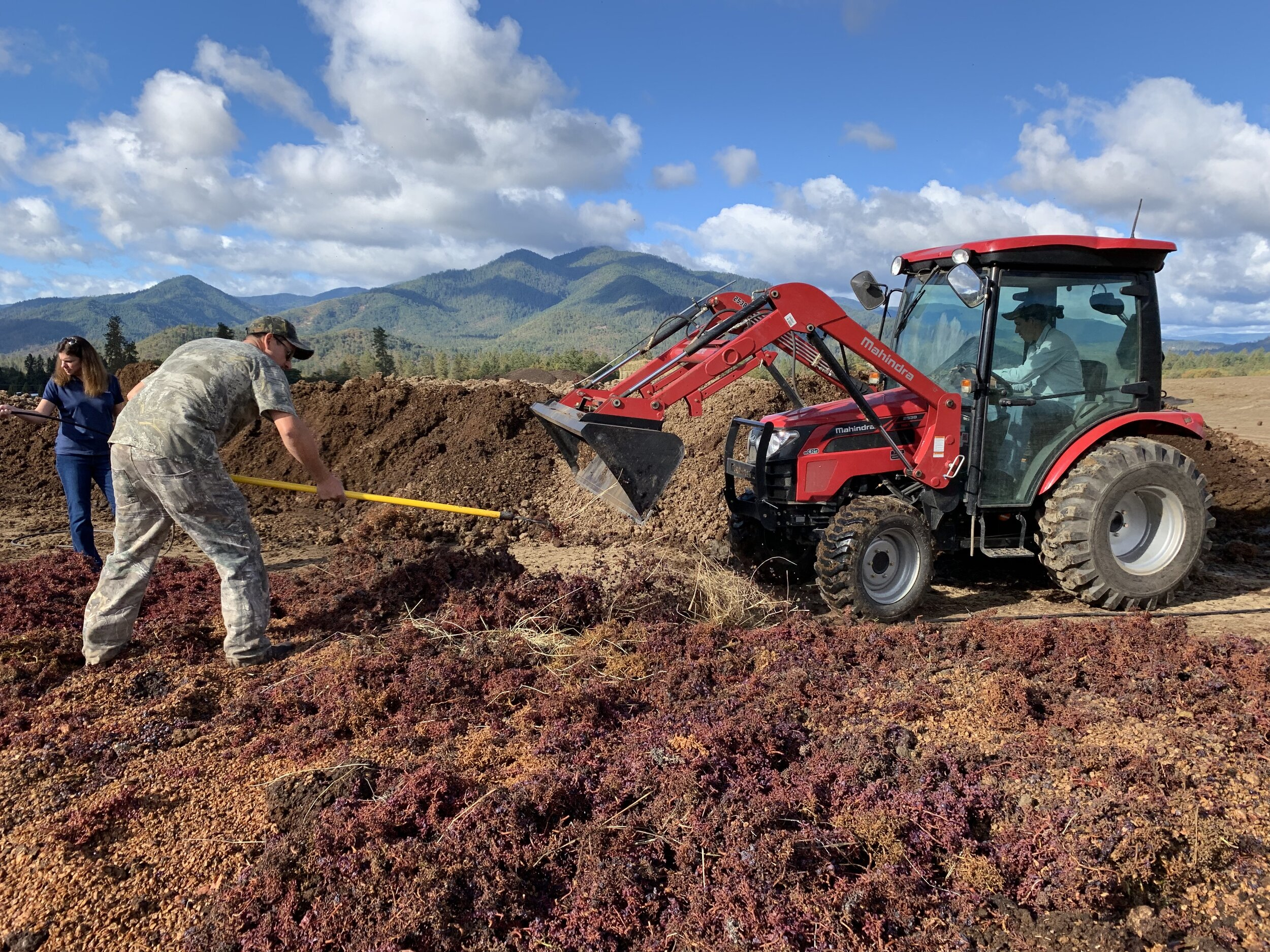 Adding pomace from the press to organic manure to build our compost piles at Troon Vineyard in Oregon's Applegate Valley. Compost is the foundation of biodynamic, regenerative agriculture.