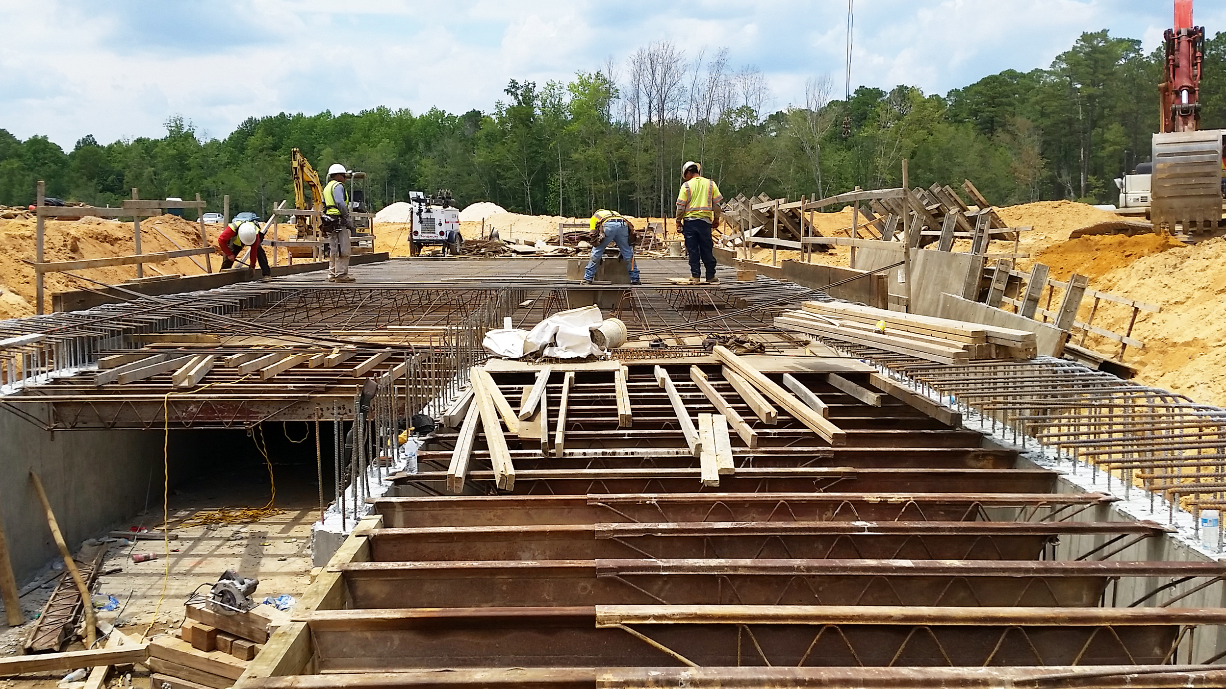 Figure 2. Reinforcing steel provides essential tensile strength to the culvert foundation, walls, and roof