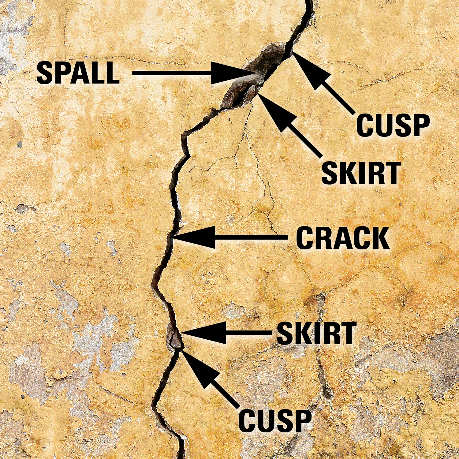 Figure 1. ANATOMY OF A CRACK. This photo illustrates a vertical crack approximately 1-3 mm wide, with larger areas of spalling. Epoxy injection can help to seal the crack from further erosion while impeding premature corrosion of reinforcing steel.
