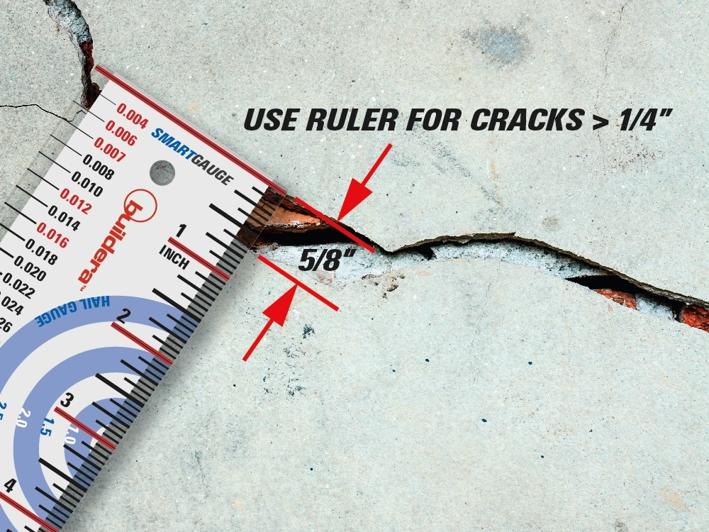 """FIGURE 5 . For cracks or other measurement requirements greater than 1/4"""", use the included ruler with the long red and black reference line as the zero point. For precise lippage or inside corner measurements, users may trim the top edge using a belt sander or disk sander, being careful to maintain a square and perpendicular edge up to the thin black line."""