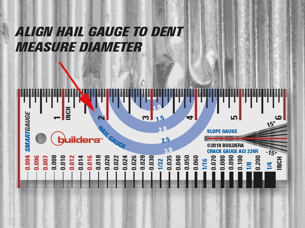"""FIGURE 7 . Quickly measure hail-impact diameter of metal roofs, corrugated panels, vehicles and other surfaces using the colored hail gauge. If the impact zone exceeds 3"""" in diameter, use the ruler to extend the measurement up to 6"""" (that would be grapefruit-sized hail!)."""