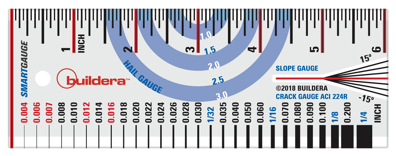FIGURE 1 . Buildera   SMARTGAUGE MULTICOMPARATOR  . Front side includes a color-coded ruler, hail gauge, crack-width/material-thickness gauge, and slope gauge.