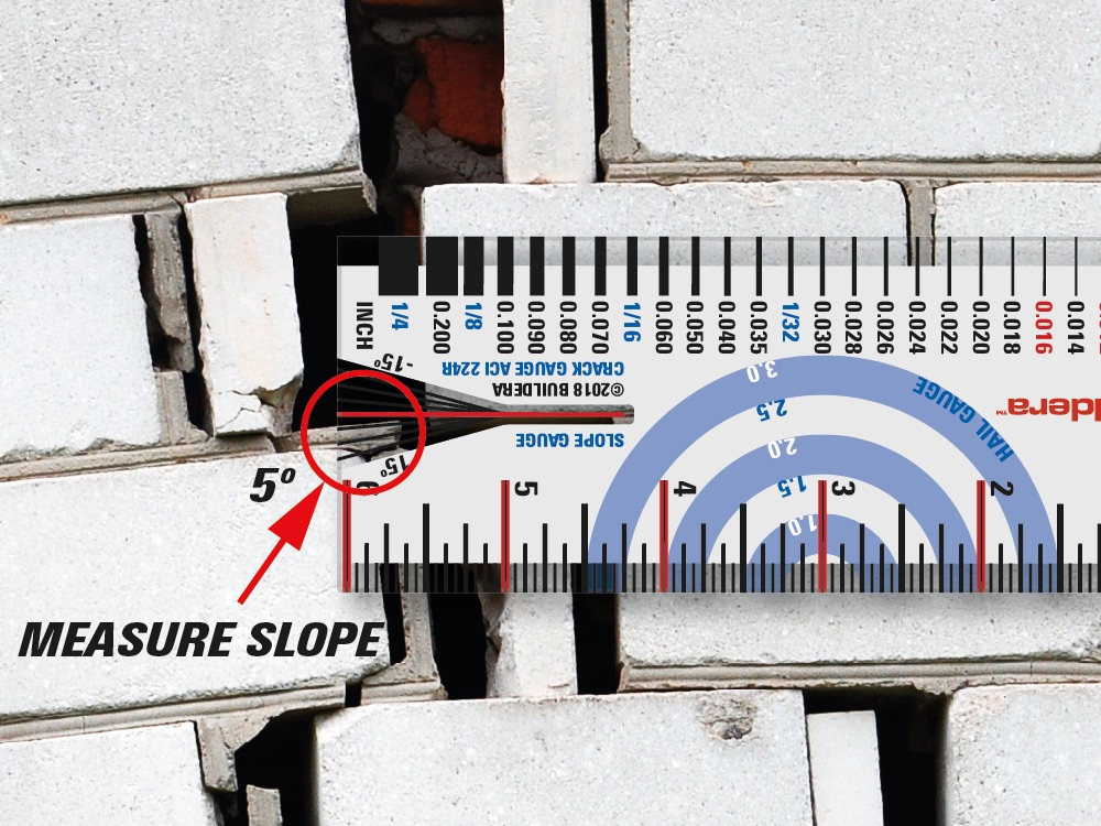 FIGURE 6 . Use the slope gauge to measure angular offsets from a vertical or horizontal reference. The bright red line is the baseline. Measure from 0º to ±15º in 5º increments, for a total of 30-degree range. If the slope exceeds ±15º, simply rotate the gauge to use the +15º or -15º indicator as the baseline. This effectively doubles the available range.