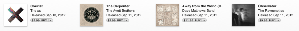 The same four new albums on iTunes, roughly $40 in total cost.