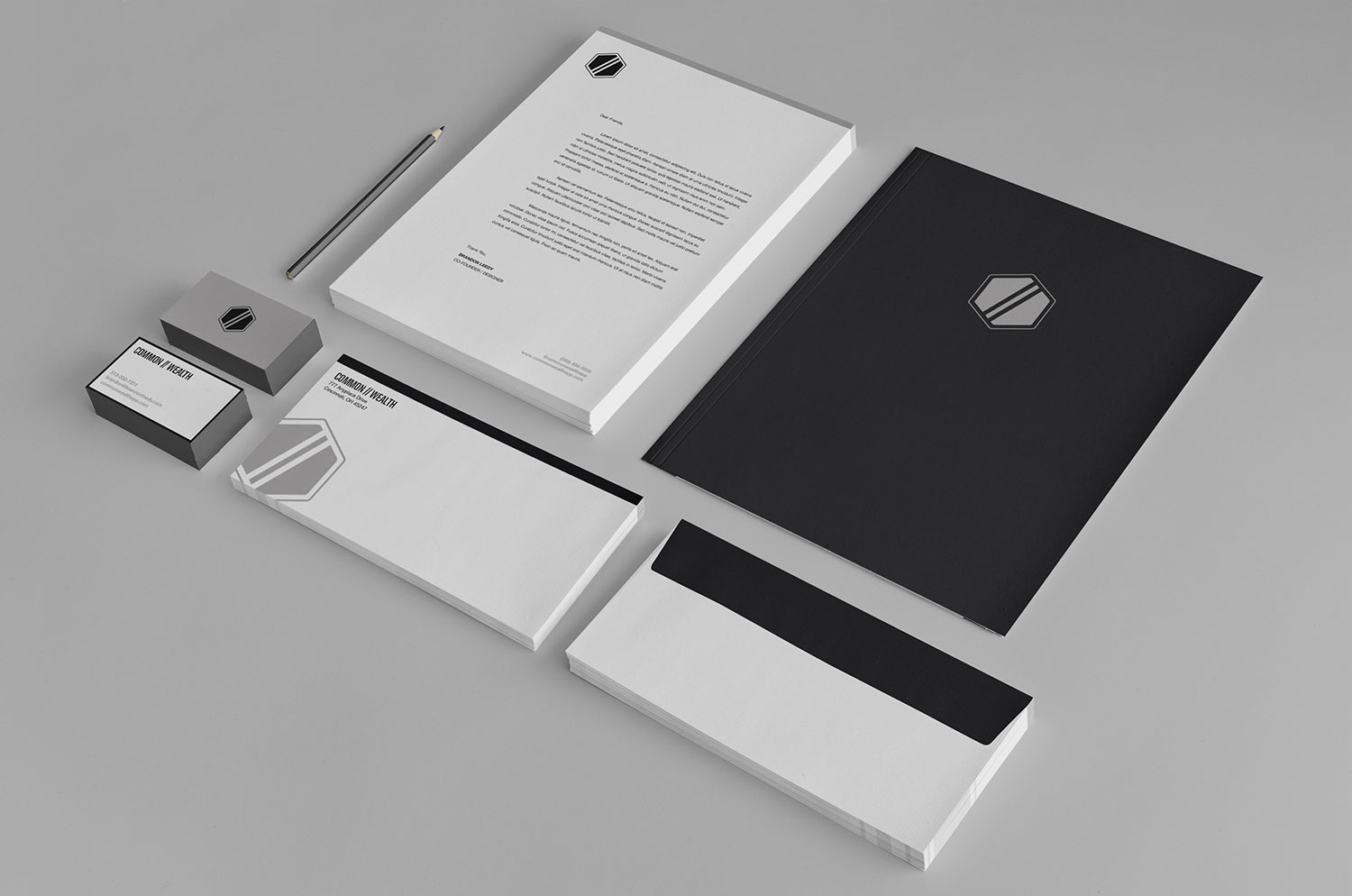 Stationery System for the Common//Wealth brand.