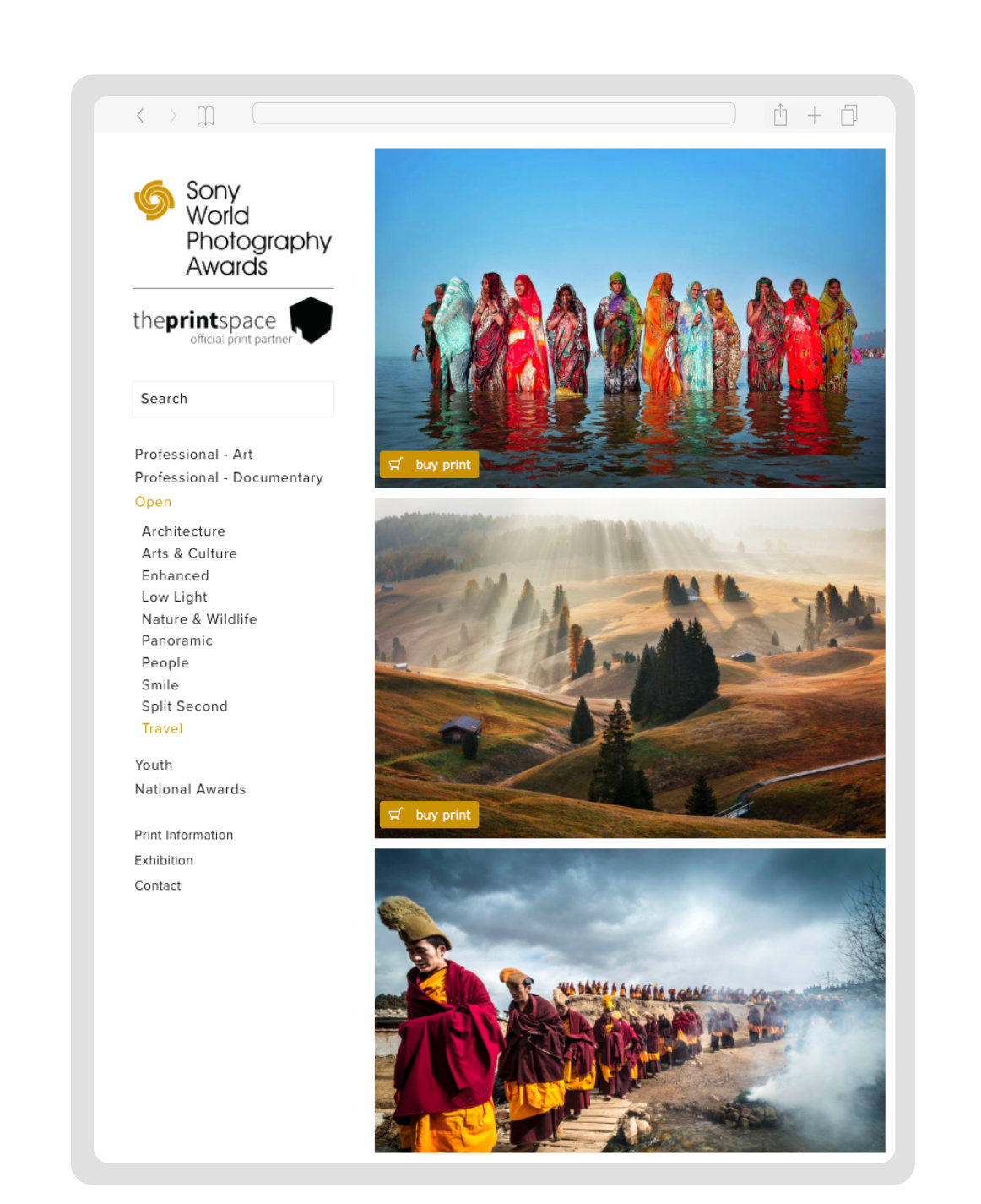 Sony World Photography Awards - Website Design & Build.Implementation for online print orders.