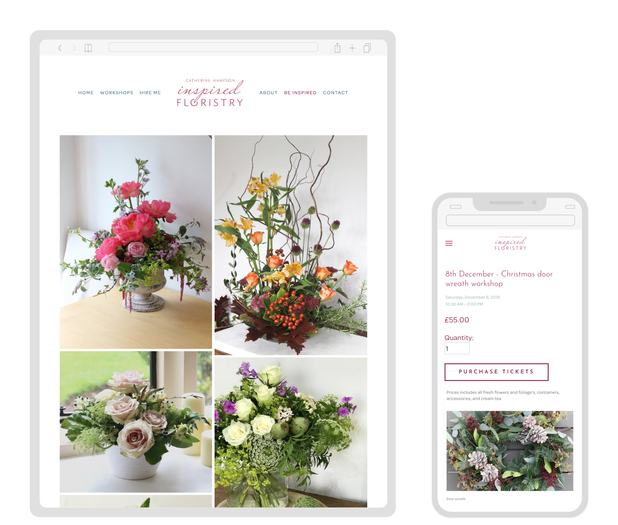 Inspired Floristry - Website design & Build. Workshop Calendar. Online Ticket Sales.