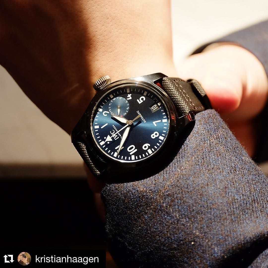 #Repost @kristianhaagen  ・・・  250 pieces only and made for the Rodeo Drive boutique opening: the stunning blue dial 46 mm Big Pilot's Watch Top Gun. And somewhat demilitarized without the fighterjet on the central hands.  #iwc #sihh2016 #timegeeks #8past10  http://ift.tt/1QmNZA6