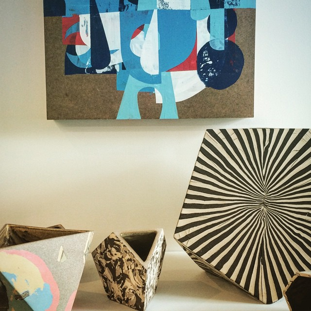 Back room inventory at @andrewrafaczgallery must be organized alphabetically. Some nice @codyhoyt pieces in front of an older painting of mine. by struggle_inc  http://ift.tt/1d8HRKP