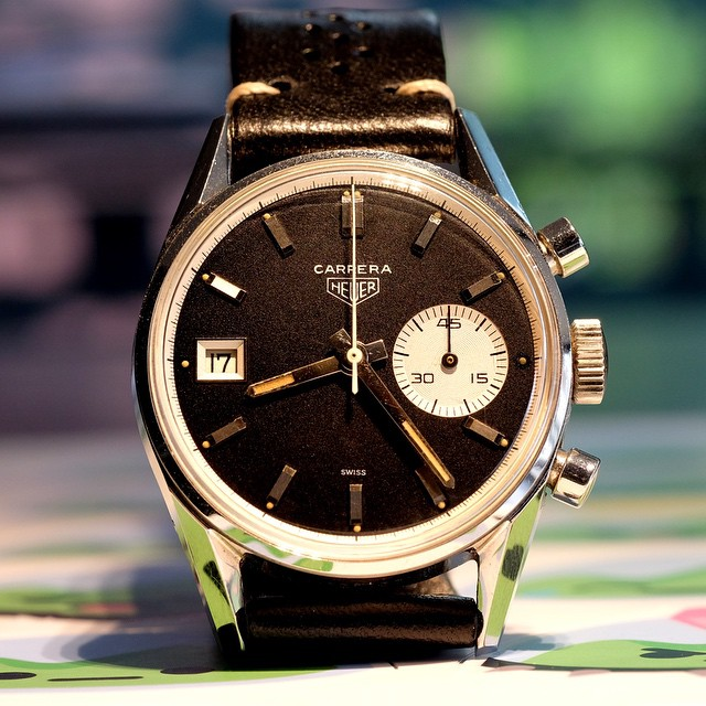 Never underestimate asymmetry. The Heuer Carerra 3147N from the mid-60s. Easily one of the best Carrera references ever designed. by jason.fried  http://ift.tt/1KLXpS8