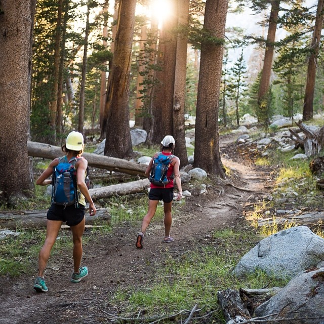 upprvalley :     Jenn Shelton and Krissy Moehl heading toward Glen Pass 50 miles into their attempt at the fastest known time on the 220 mile John Muir Trail