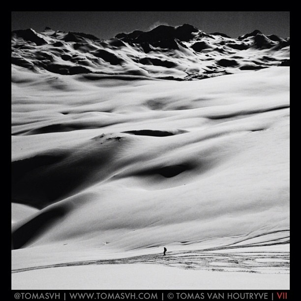 Photo by @TomasVH. Freshly fallen snow blankets the peaks around Val-d'Isère in the French #Alps. #blackandwhite #nonfiction #documentary #iPhoneonly @VIIPhoto by natgeo  http://ift.tt/1cC4iF8