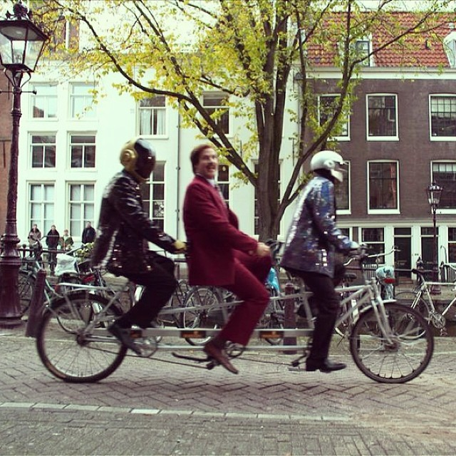 digg :      shortformblog :      Daft Punk + Ron Burgundy + tandem bicycles =  this image .      :')