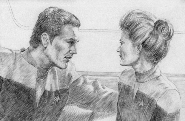 This Janeway-Chakotay sketch was done by MadameManga.   See the full-size version here and MadameManga's other work on DeviantArt.