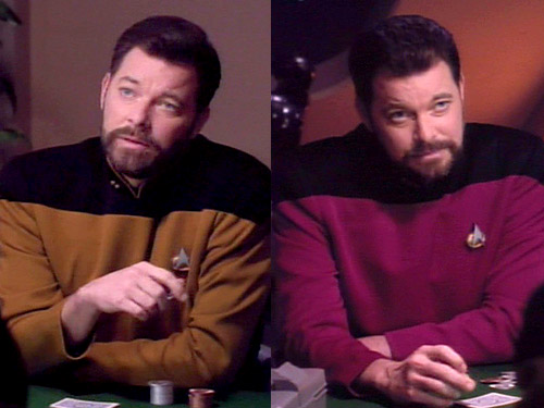 Thomas and William Riker. Starfleet's (almost) first co-captain duo.Part of Nakamura's Operation Confuse the Hell Out of the Crew.
