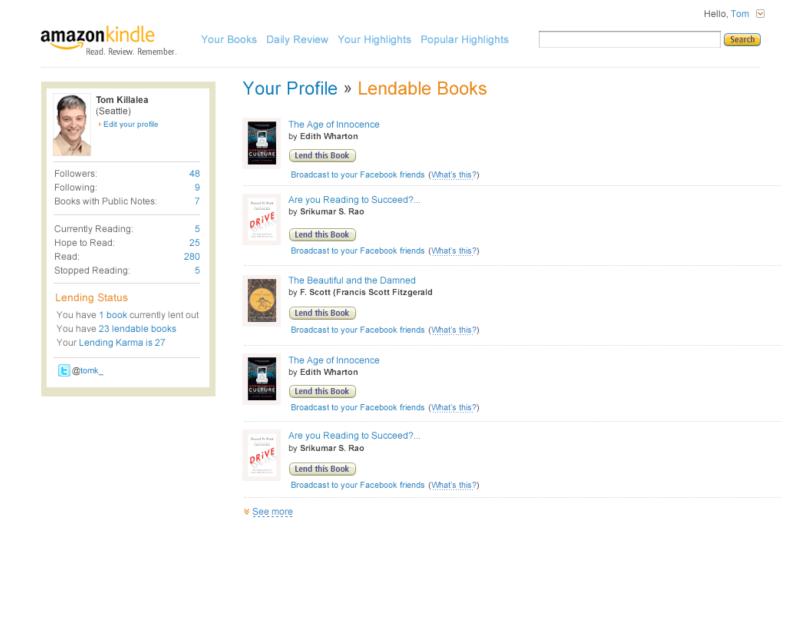 kindle.amazon.com profile