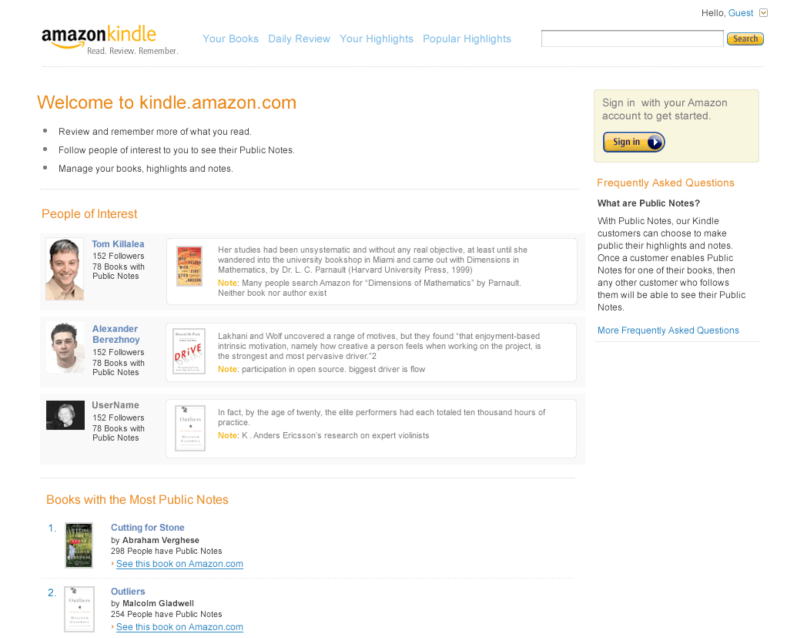 kindle.amazon.com landing page