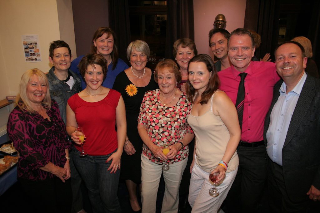 The cast of Calendar Girls with one of the original Calendar Girls, Angela Baker.