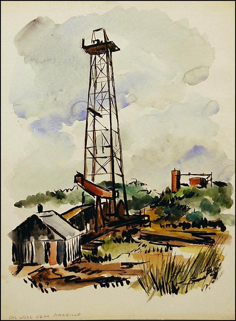 Oil Rig - Amarillo TX  16 x 20  watercolor
