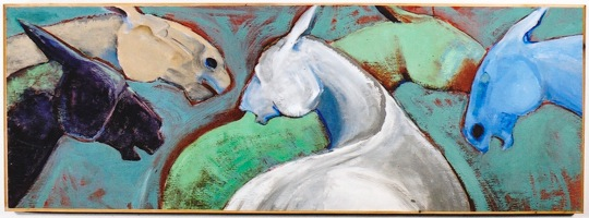 "Equines        14""x 36""          Acrylic on canvas"