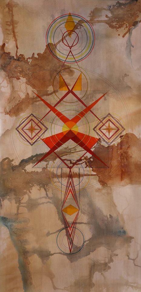 Mintaka - Inks on burnished paper - 80.25 x 43.25 2013