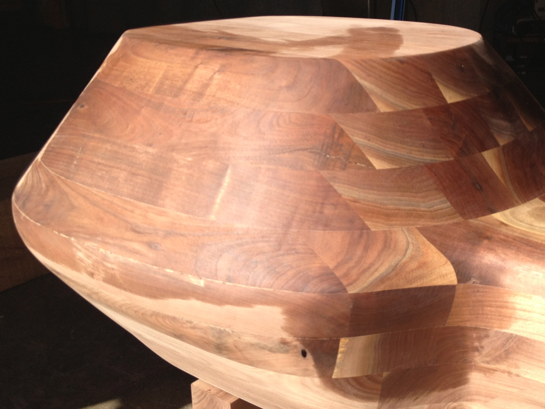 Massive walnut double cocktail table