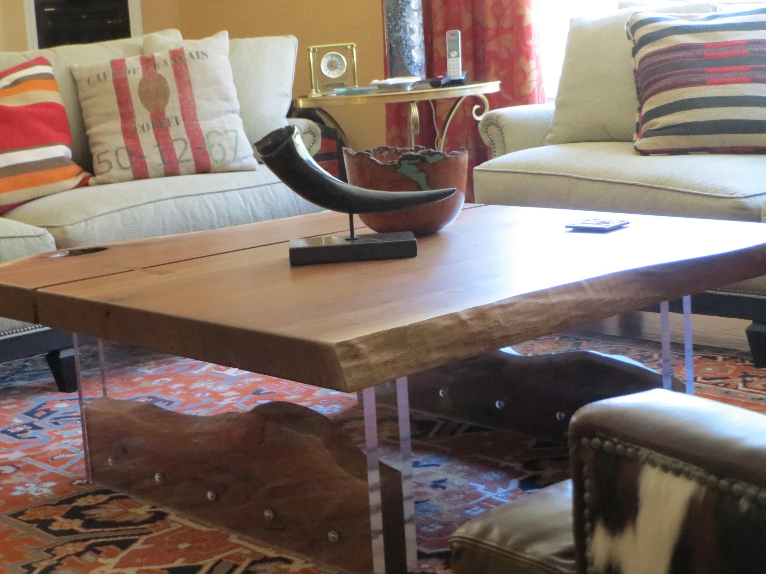 Modern acrylic walnut coffee table