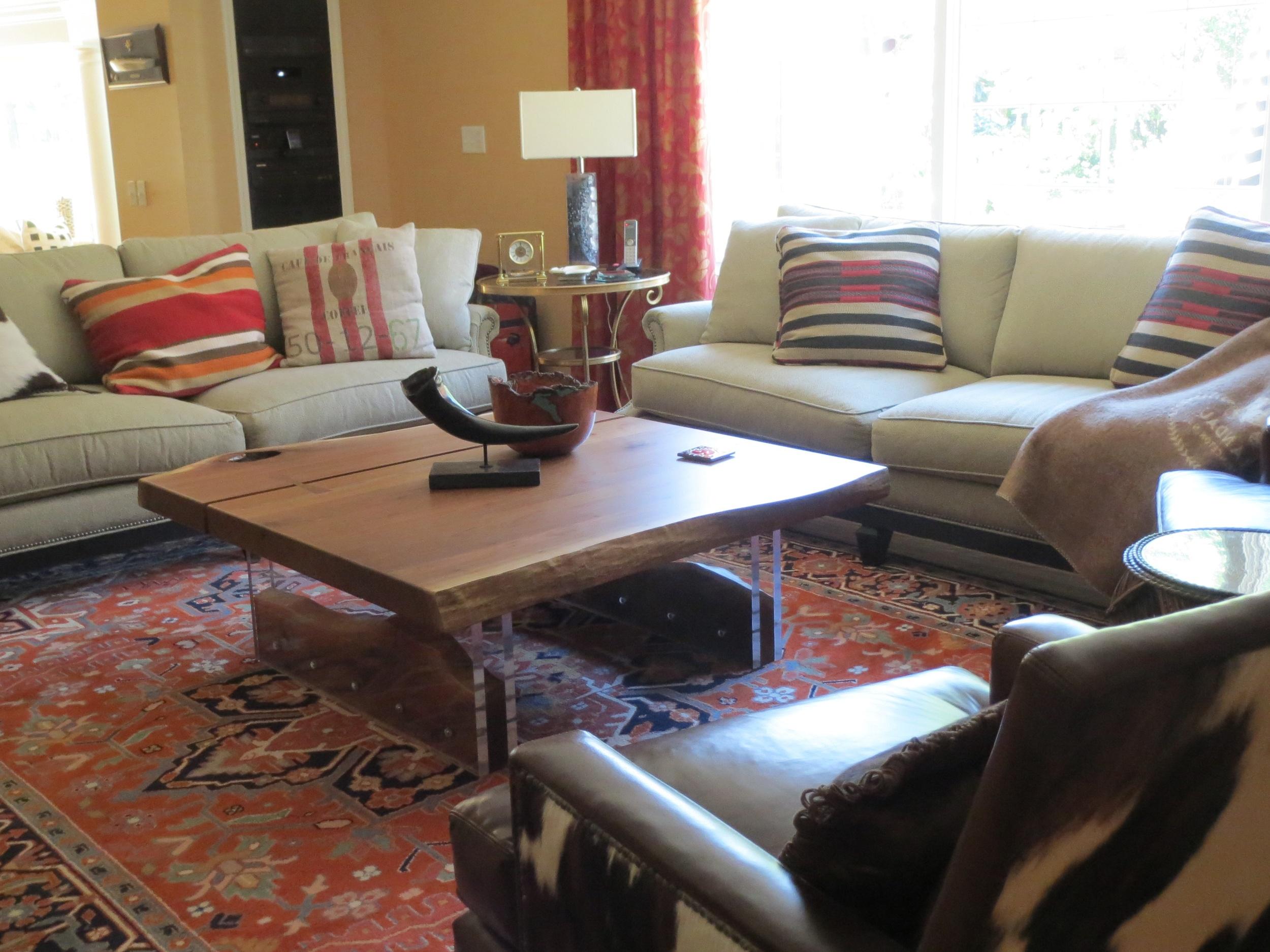 Modern walnut and acrylic coffee table