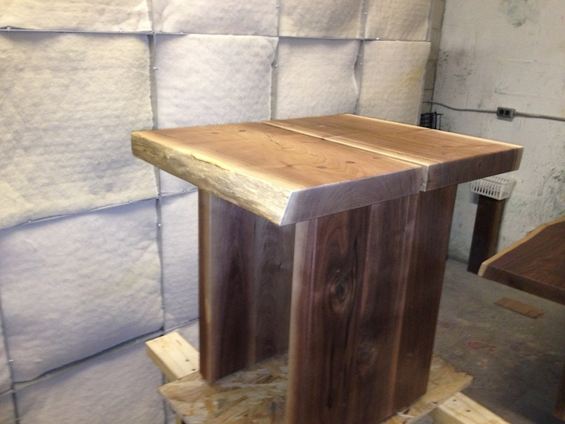 Walnut side table in finishing room today.