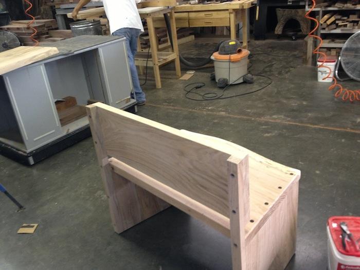 oak bench - back side - in process.