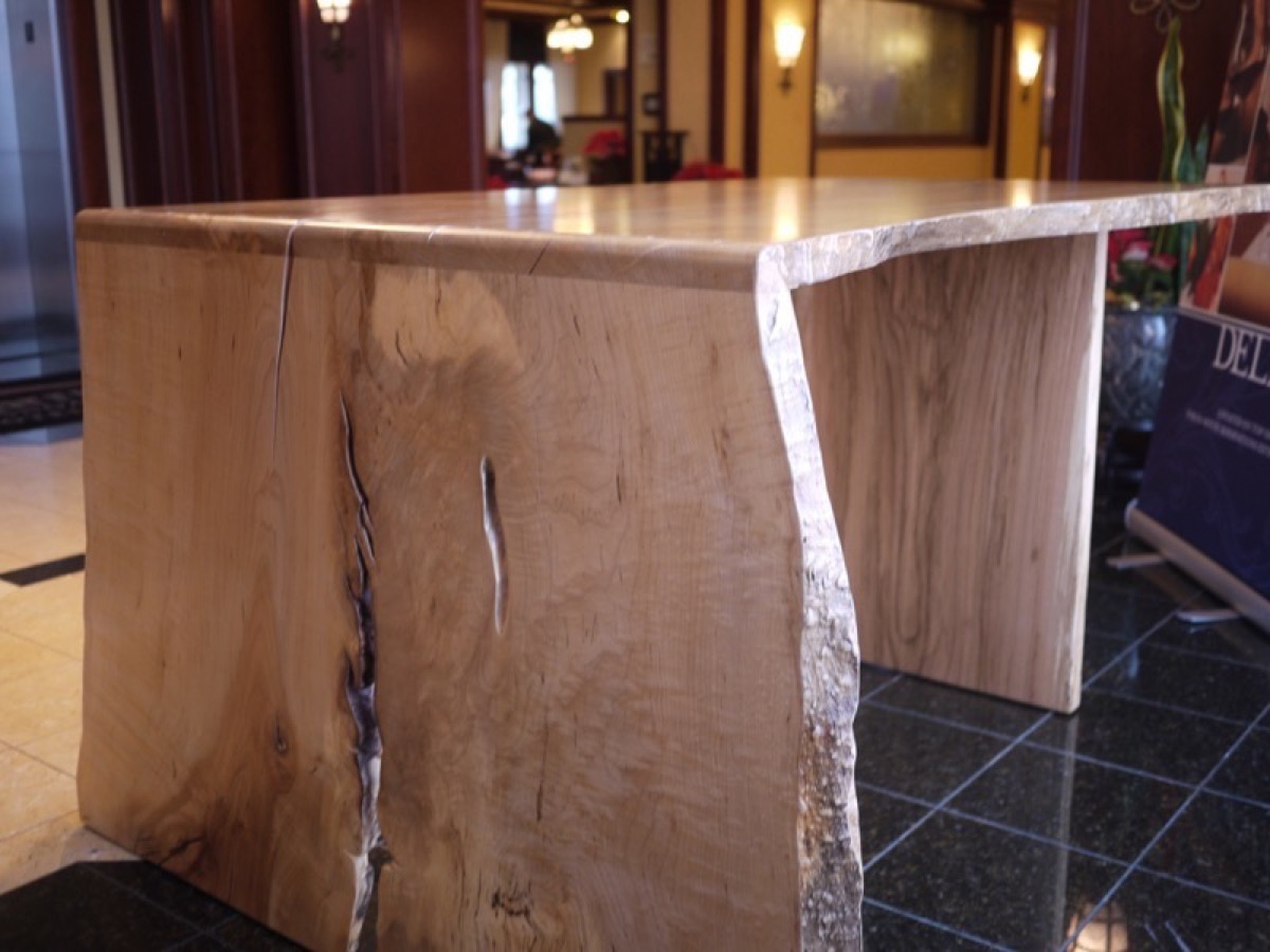 standing maple flowing grain desk