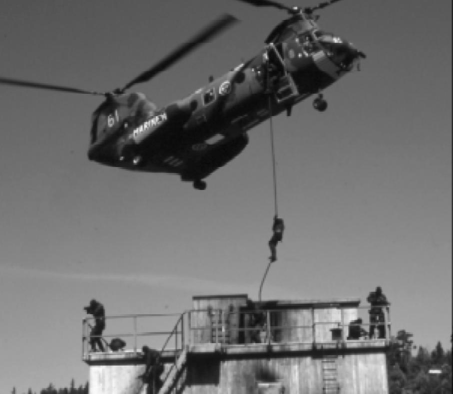 Insatsstyrkan under samövning med Försvarsmakten.    Foto: Mathias Cibej