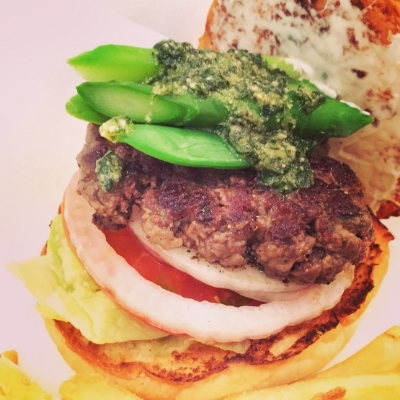 Monthly Burger - genovese with snap peas and asparagus