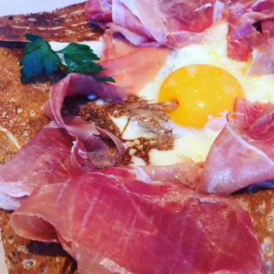 Gambon with egg and cheese galette