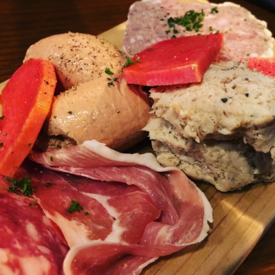 Charcuterie moriawase - chicken liver mousse, pork rillettes, parma ham with pickles