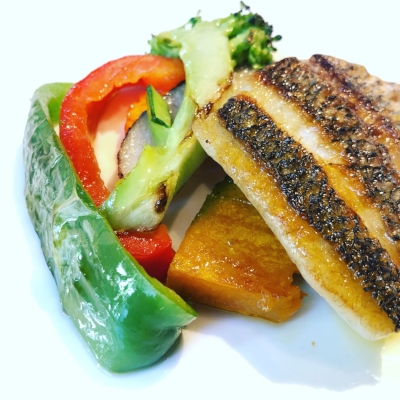 Pan-fried sea bream with grilled vegetables