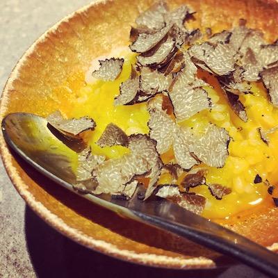 Truffle with egg yolk rice