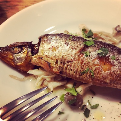 Sardine confit with marinated mushrooms