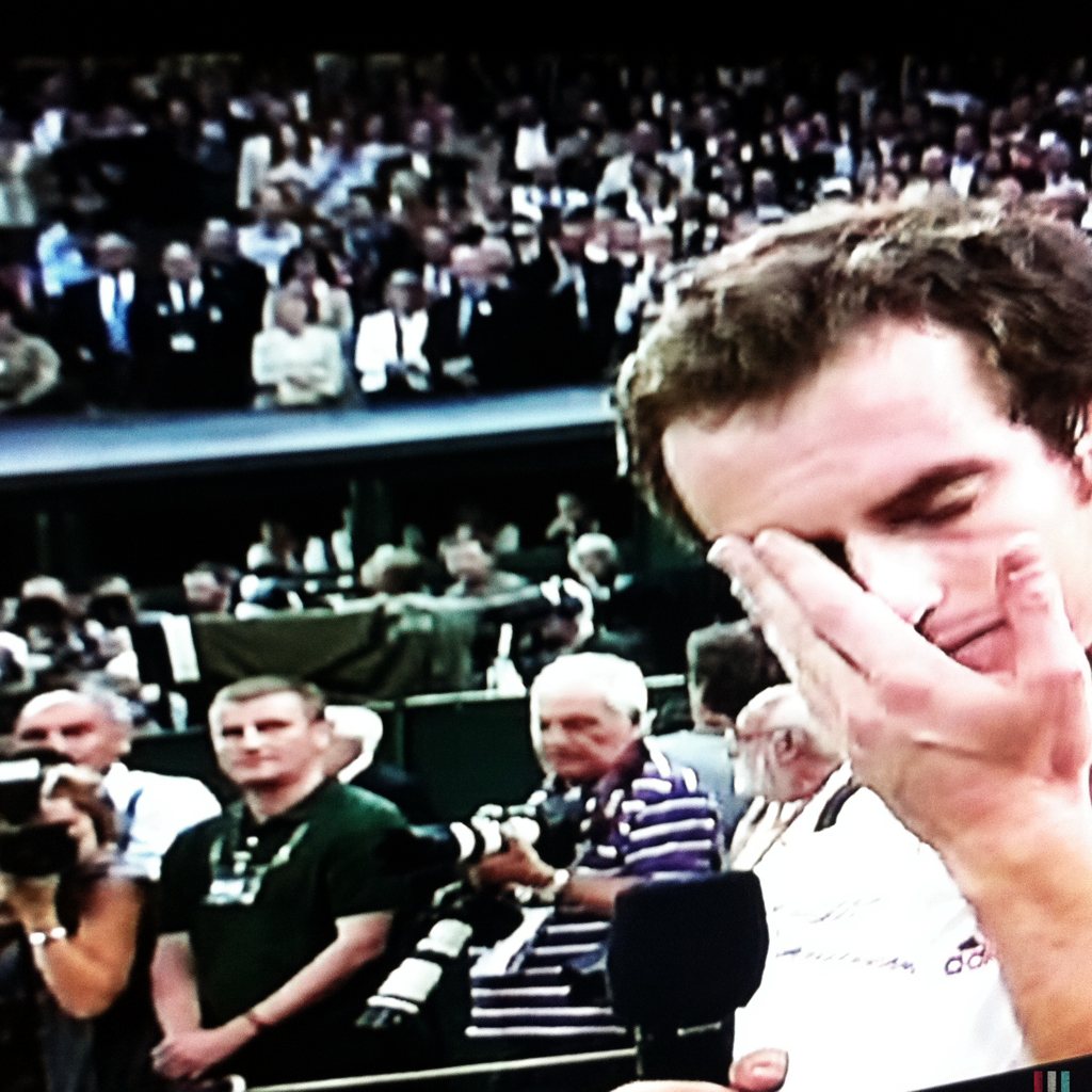 Andy Murray breaks down during post-match interview after losing his first Wimbledon final against 7-time winner Roger Federer.
