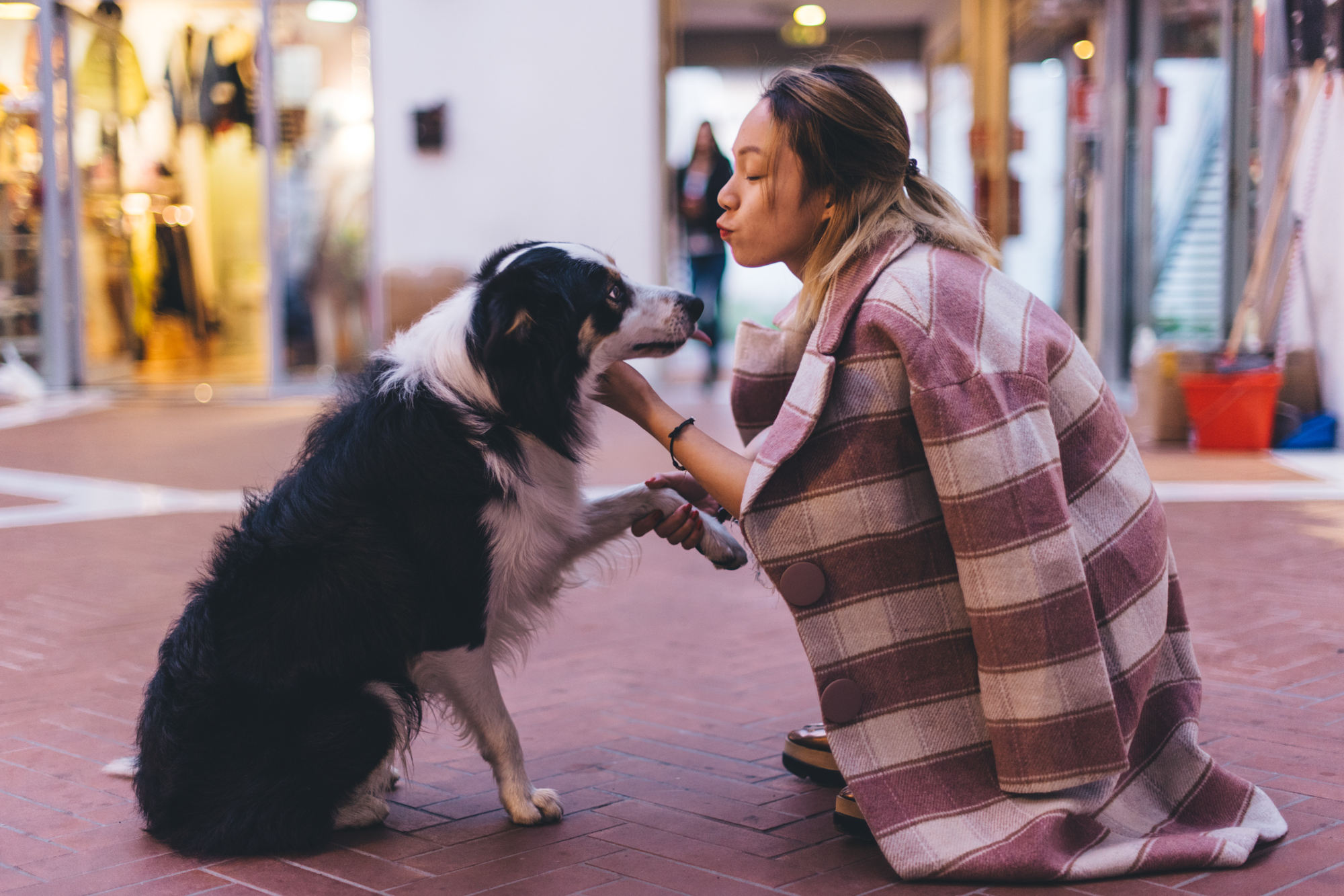 Prato, November 2016. Gaya Ji, a young Chinese-Italian actress and fashion blogger with her dog Jackie. Gaya is a prominent member of the youngest Chinese-Italian generation and often takes part in many artistic projects and events related to the Chinese community, gaining a small, but trusted follow and praise among her friends and citizens from Prato