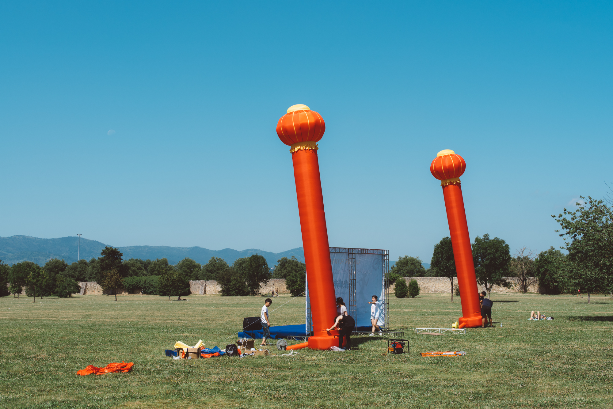 Prato, June 2016. A stage for the marathon prize-giving ceremony is set in the Cascine di Tavola, a public park in South Prato.