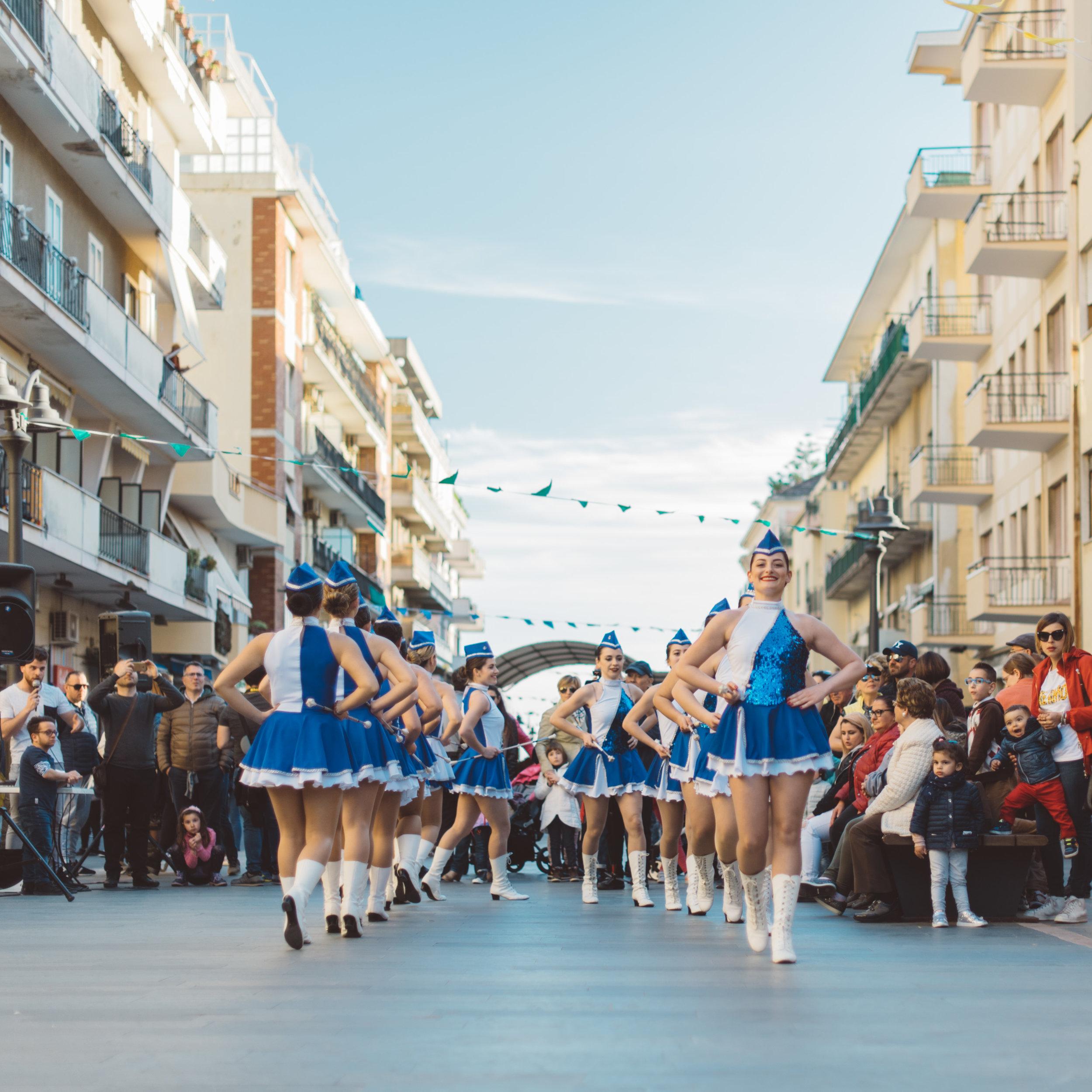 The Sailors Majorettes during a performance in Maiori, on the Amalfi Coast.