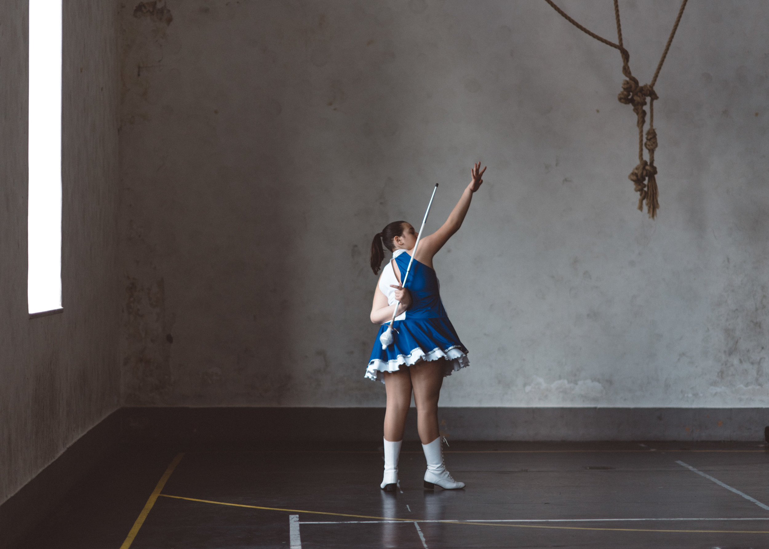 Stefania of the Sailors Majorettes team rehearsing her solo performance.