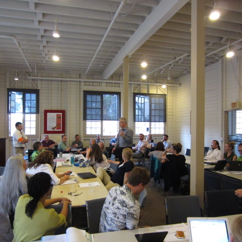 """GAP volunteers and USGBC chapter reps led by expert facilitator Keith Schneringer,at the first-ever LEED O+M """"Hack-A-Thon"""" for Museum of Man, takenduring the 2015 USGBC mid-year meeting. Photo credit Josh Dean."""