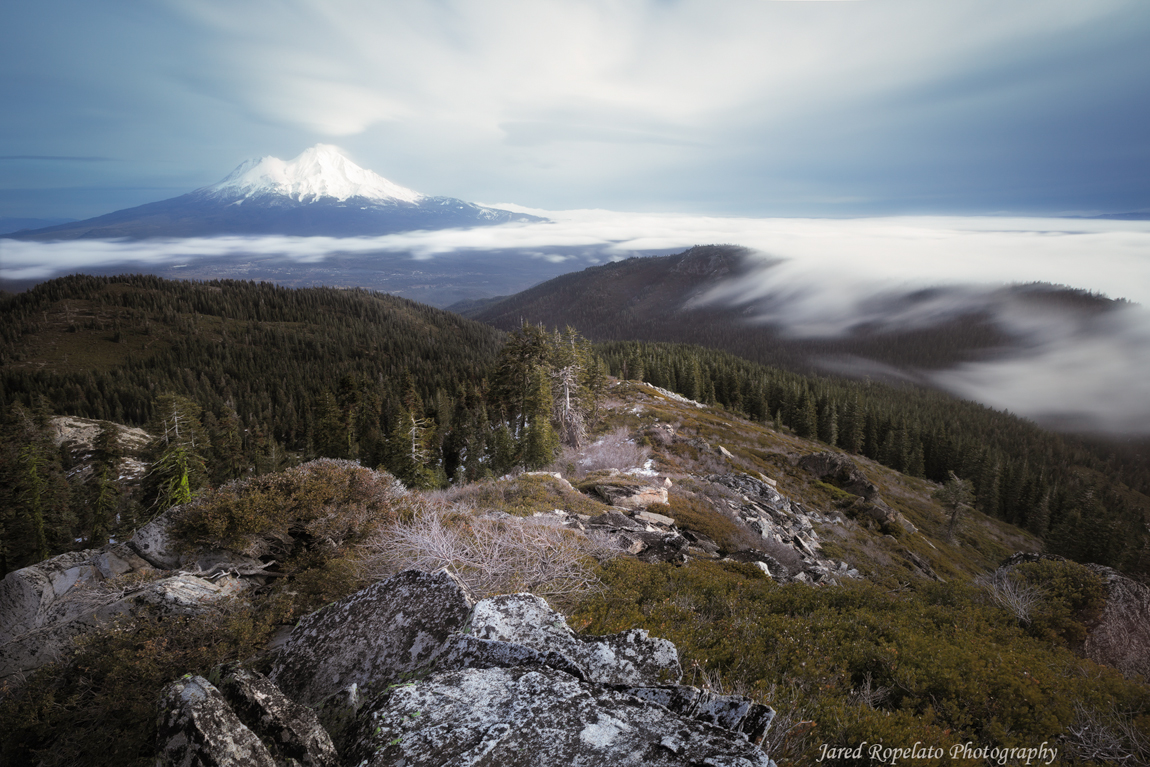 The highest point around with views of the valley fog and Mount Shasta.
